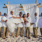 Sideways bride beach wedding