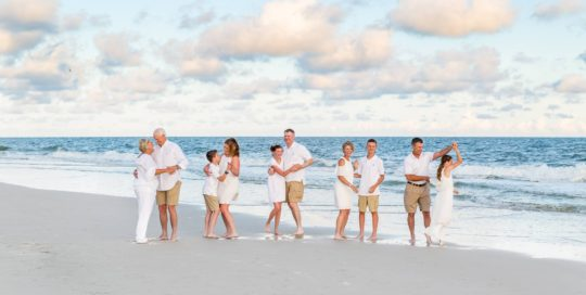 extended family beach portraits in Orange Beach