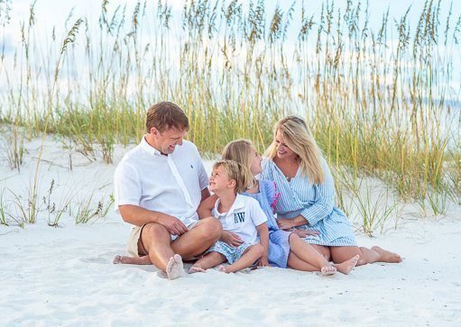 Family photo at the beach in Seagrove Beach Fl mini session and affordable photographer