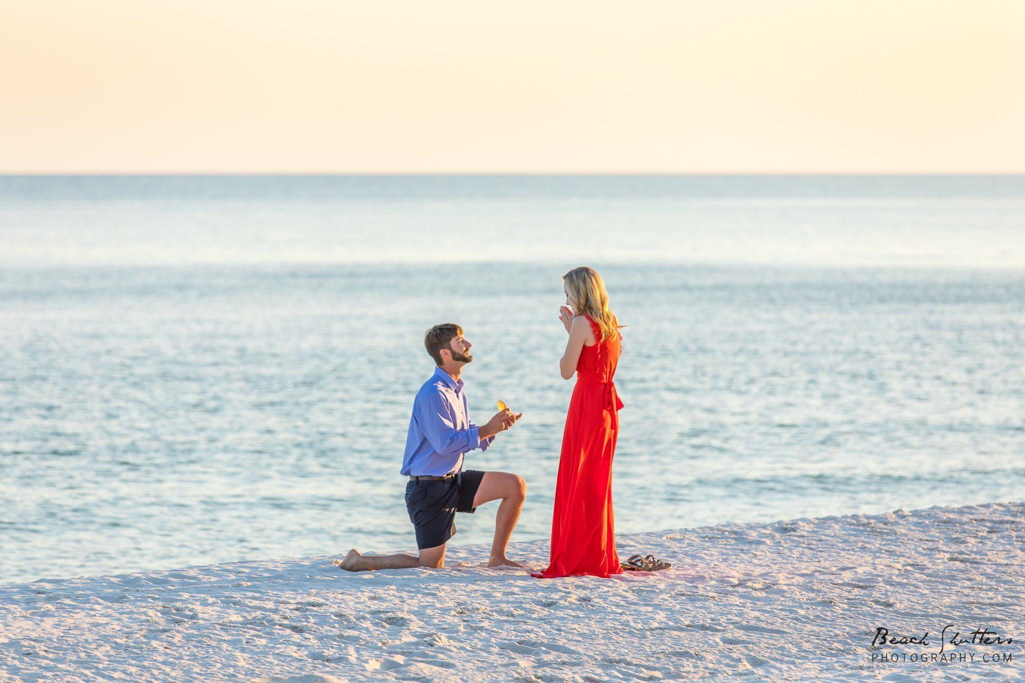 proposal at the beach Orange Beach