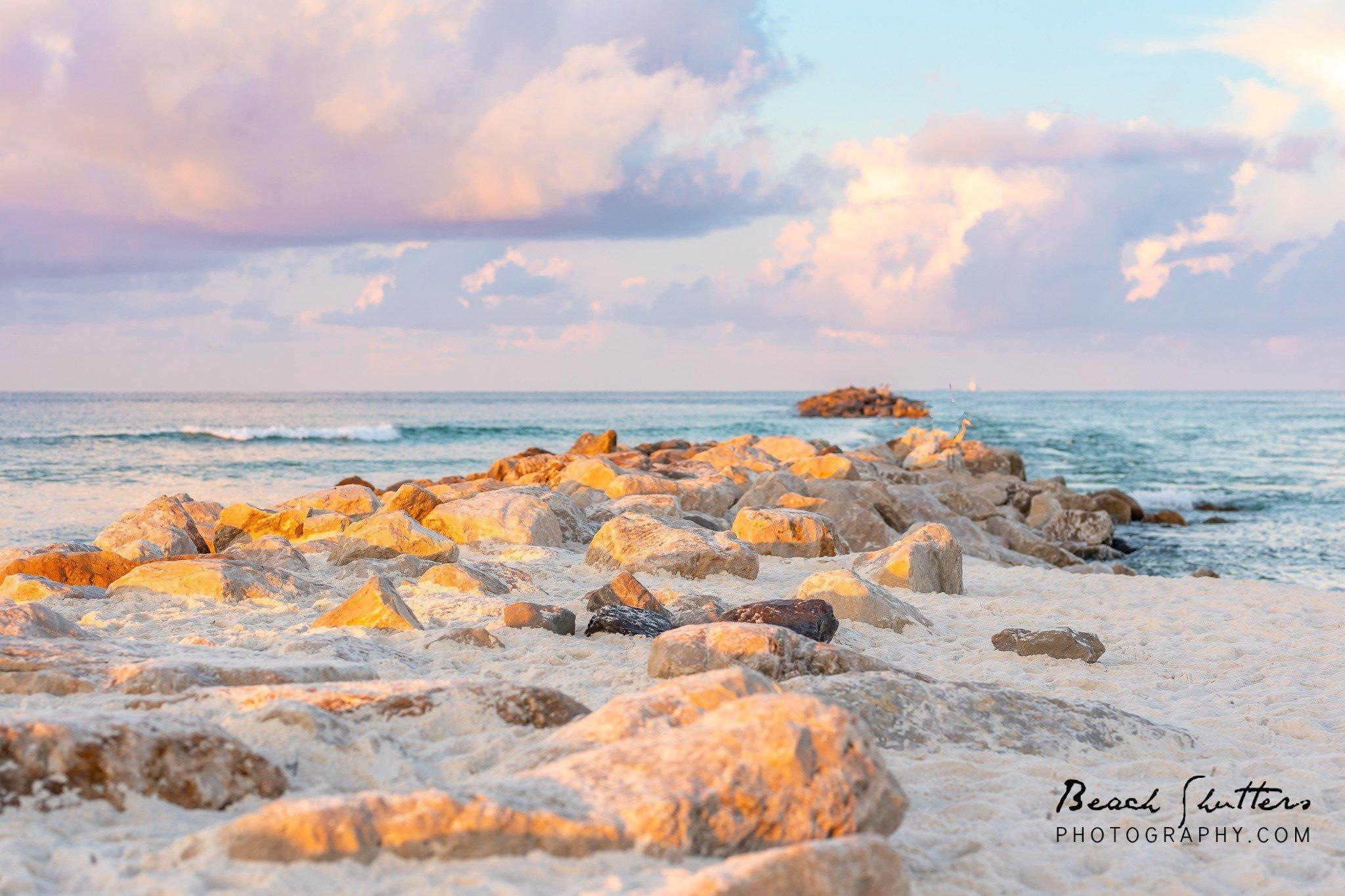 the rocks on the beach in Orange Beach