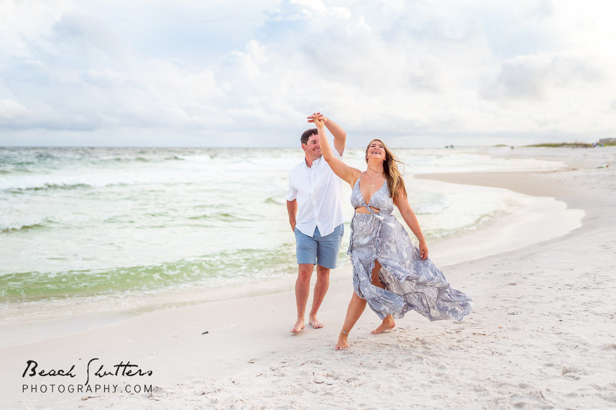 beach twirl engagement session in Gulf Shores